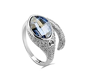 Bellera Jewelry Sapphire 925 Sterling Silver Cubic Zirconia Crystal Ring Size 6