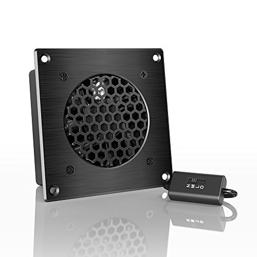 """AC Infinity AIRPLATE S1, Quiet Cooling Fan System 4"""" with Speed Control, for Home Theater AV Cabinets"""