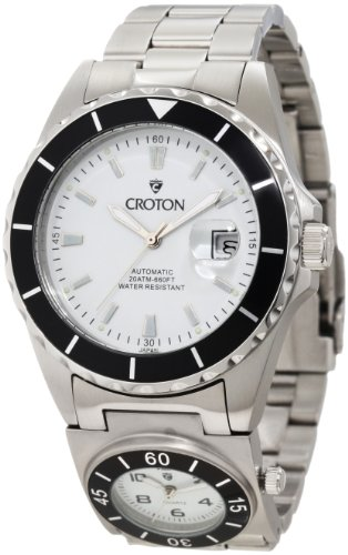 Croton Men's CA301150SSBK Multi-Time Automatic Dual Time White Dial Stainless Steel Watch