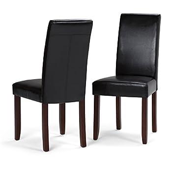 Simpli Home Acadian Parson Dining Chair, Midnight Black (Set of 2)