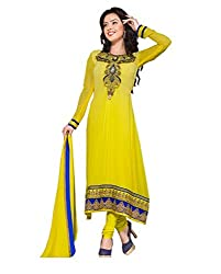 Fadattire Womens Georgette Straight Dress Material (Acll05 -Yellow -Free Size)