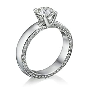 Diamond Engagement Ring in 14K Gold / White Certified, Round, 0.98 Carat, I Color, VS1 Clarity