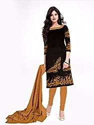 Style Amaze Cotton Black Dress Material
