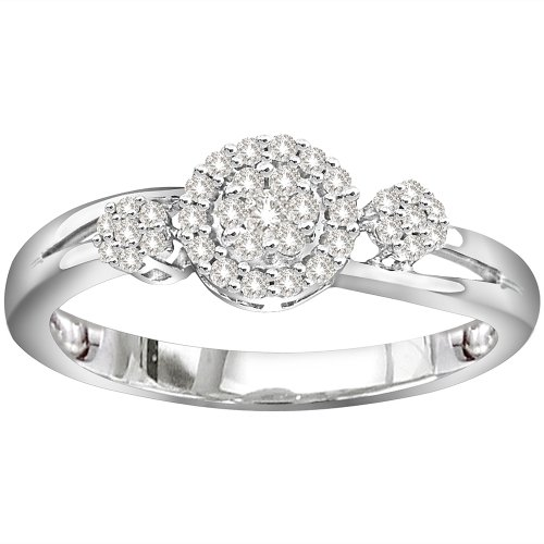 Ring Engagement Low Cost Sterling Silver Diamond Fashion Ring 1 4 Cttw H I