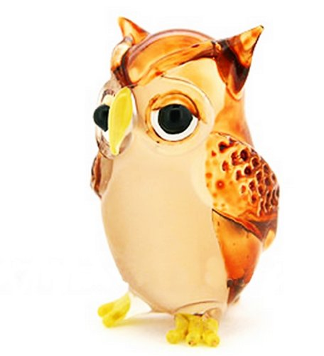 Lampwork COLLECTIBLE MINIATURE HAND BLOWN Art GLASS Single Owl Brown FIGURINE by ChangThai Design (Miniature Hand Fans compare prices)