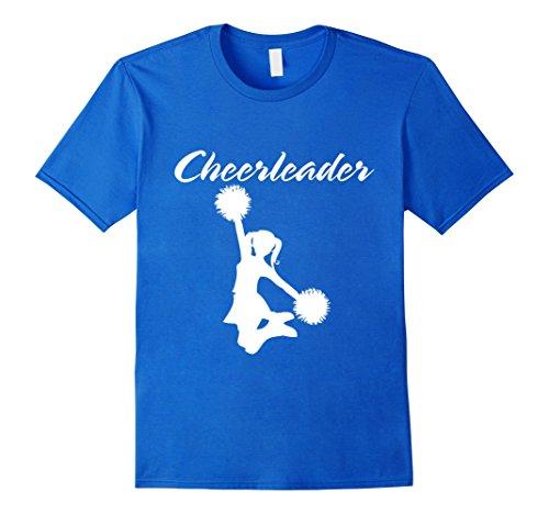 Men's Cheerleading Cheerleader Pom Pom Jump Formation White TShirt Large Royal Blue (Cheap Cheerleader Pom Poms)