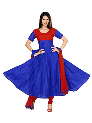 Suchi Fashion Embroidered Blue & Red Cotton Daily Wear Suit