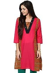 Indi Dori Women'S Cotton Pink Multi Printed Kurti