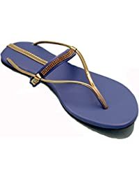 Karat Gold Women's Blue Synthetic Slipper| Blue Slippers|blue Women's Flats - B01GIA1LZI