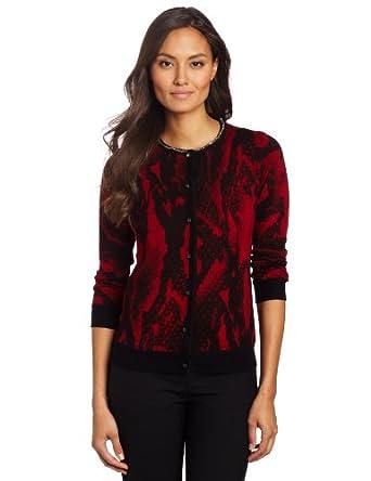 Jones New York Women's Petite Printed Cardigan Sweater, Scarlet Multi, PS