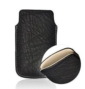 Custodia / Borsa di vera pelle NERO per Samsung Galaxy S Duos S7562