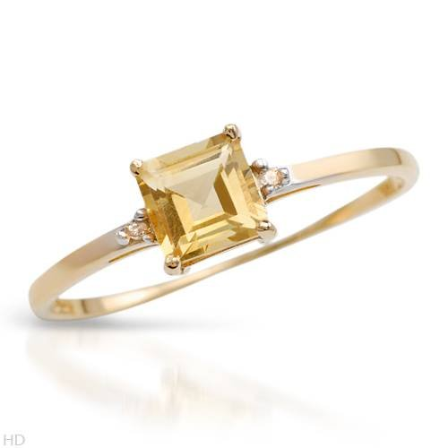 Yellow Gold 0.44 CTW Citrine and 0.01 CTW Accent Diamond Ladies Ring. Ring Size 7. Total Item weight 0.9 g.