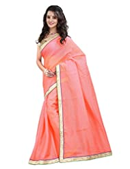 7 Colors Lifestyle Light Pink Coloured Super Net Embroidered Saree - B01537FWMA