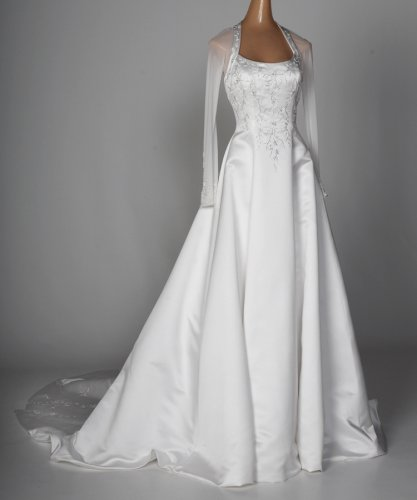 White Satin Sheer Long-Sleeve Wedding Gown