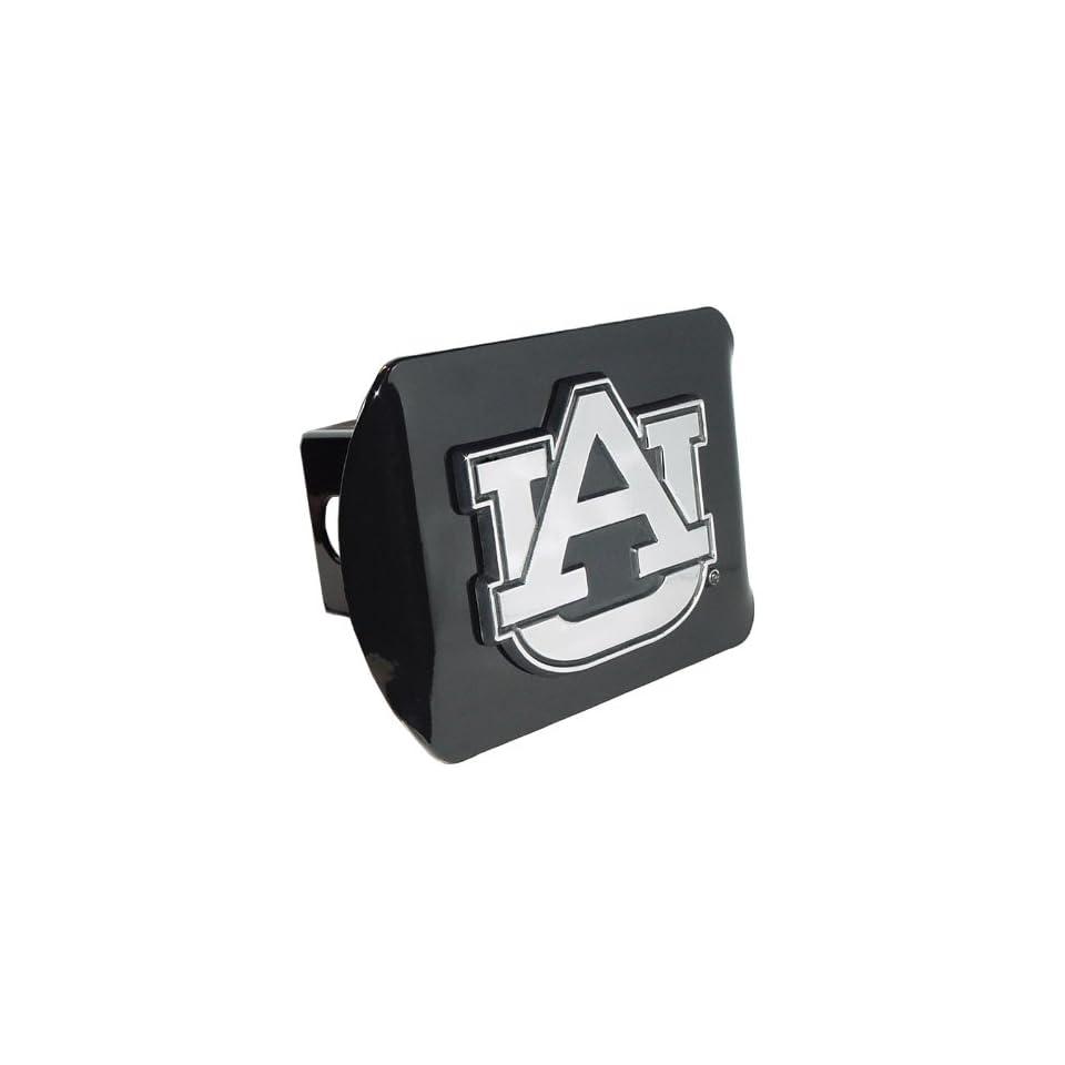 Auburn University Tigers Black with Chrome AU Emblem NCAA College Sports Metal Trailer Hitch Cover Fits 2 Inch Auto Car Truck Receiver