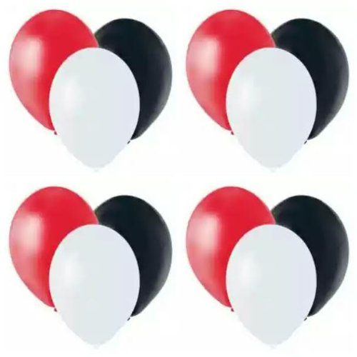 "Red, White, And Black 11"" Latex Balloons (12 Pack)"