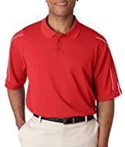 adidas Golf Mens ClimaLite 3-Stripes Cuff Polo - UNIVERSITY RED/WHITE - XL