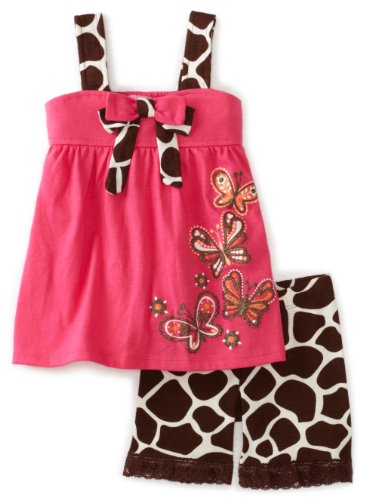 Nannette Girls 4-6x Pink Butterfly Bermuda Set