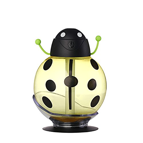 BonNoces Beetles Humidifier USB Nightlights humidifier-Home Office Car with suction cups for Yoga Spa Baby Bedroom Air-conditioned rooms (Yellow)