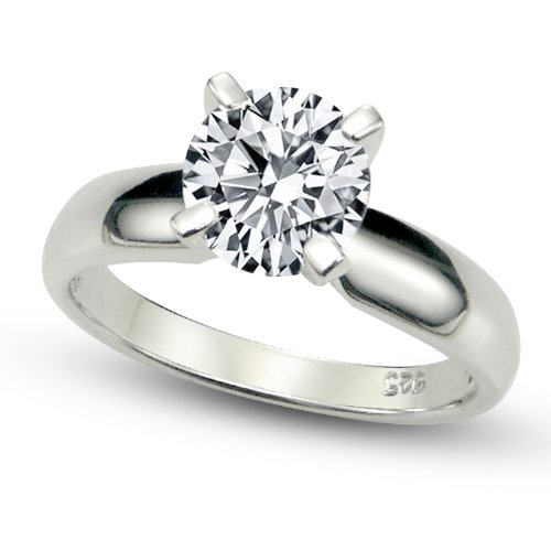Sz 10 Sterling Silver Cubic Zirconia Solitaire 1.25 Carat tw Round Cut 4-Prong Set CZ Engagement Ring