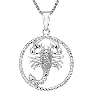 Sterling Silver Diamond Zodiac with Scorpio Pendant Necklace (1/10cttw, J-K Color, I3 Clarity), 18