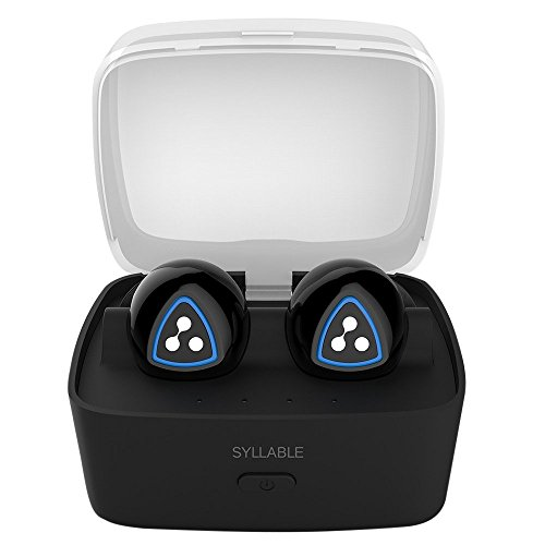 Syllable® D900S Auriculares Bluetooth 4.1 inalámbrico in-ear sin cable con Caja de carga Inteligente, Headset manos libres con micrófono para iPhone, Samsung y otros Smart Phones (Negro) width=