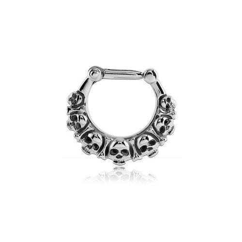 Gioiello di setto nasale acciaio Clicker teschi-A Cerchio/Asta 1.6mm, Tagliapiastrelle Int. 8mm