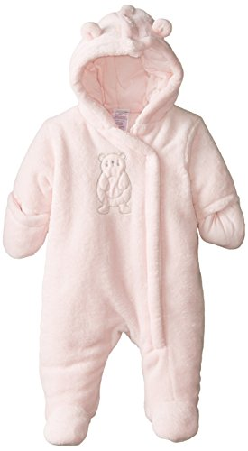ABSORBA Baby-Girls Newborn Fuzzy Plush Snowsuit, Pink, 6-9 Months