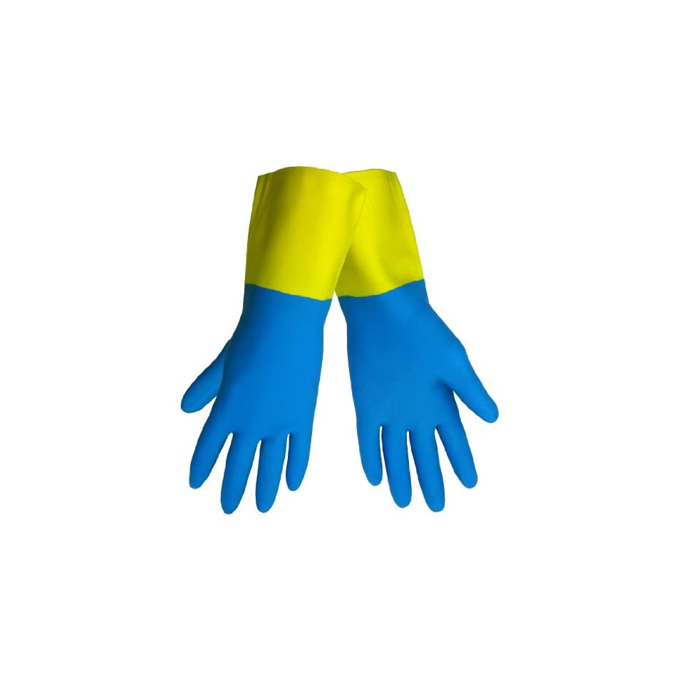 Global Glove 244 Neoprene Over Latex Glove, Chemical Resistant, 26 mil Thick, Small, Blue/Yellow (Case of 144)