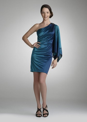 David's Bridal Draped One Sleeve Ombre Jersey Dress Style 231M15980 online