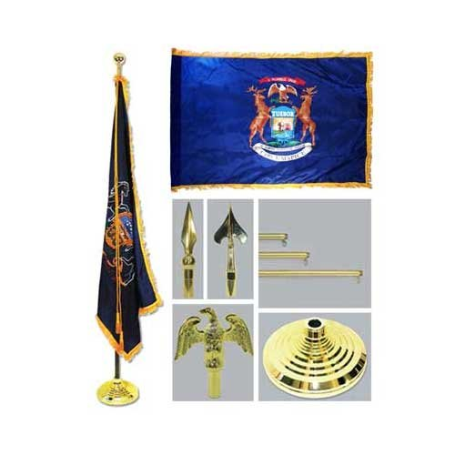 Michigan 4Ft X 6Ft Flag Telescoping Flagpole Base And Tassel