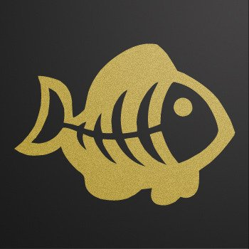 Funny fishbone... Gold-Matte (08 X 5.9 inch) XRRS6