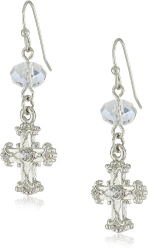 The Vatican Library Collection Silver-Tone Crystal Cross Drop Earrings