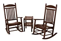 Hot Sale POLYWOOD PWS140-1-MA Jefferson 3-Piece Rocker Chair Set, Mahogany