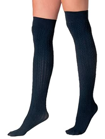 American Apparel Opaque Over-the-Knee Cable Knit Sock - Black / One Size