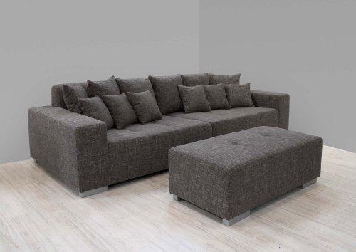 Big Sofa in Strukturstoff grau-schwarz, inkl. Kissen, Füße silberfarben, Maße: B/H/T ca. 292/78/120 cm