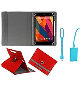 Gadget Decor (TM) PU Leather Rotating 360° Flip Case Cover With Stand For Axl 718GIA + Free USB Led Light - Red