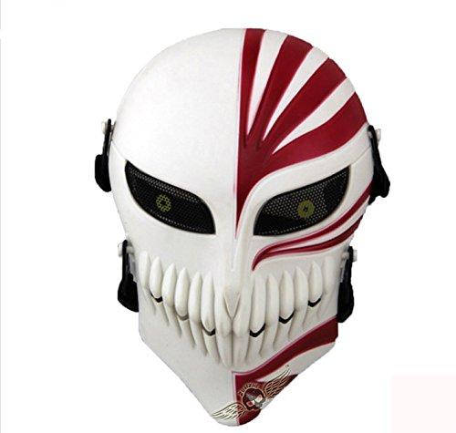 Contact Lenses Greenemart Death Skull Face Mask Full Face Protective Tactical Mask Gear For Airsoft Paintball Cs War Game Cool Scary Ghost Mask For Halloween Cosplay White Red