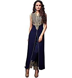 Siya Fashion women's Georgette Party Wear Unstitched Dress Material(si1512_ Blue color)