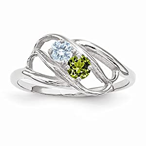 14k white gold white gold polished 2 mothers ring