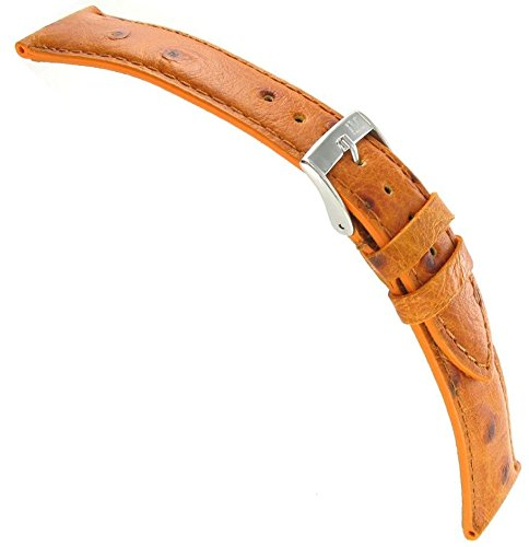 20Mm Morellato Ostrich Grain Genuine Leather Padded Stitched Tan Brown Watch Band Strap