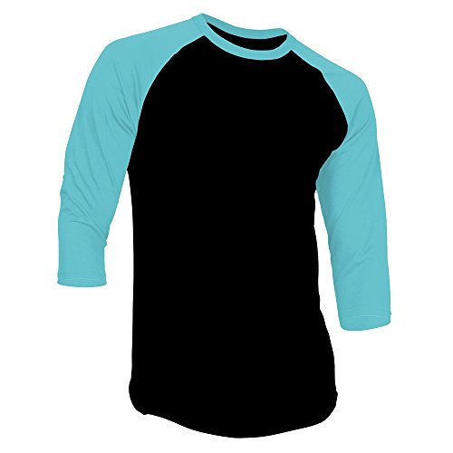DealStock Men's Plain Raglan Shirt 3/4 Sleeve Athletic Baseball Jersey S-3XL (40+ Colors) Black/Tiffany Blue M (Tiffany Blue Shirt compare prices)