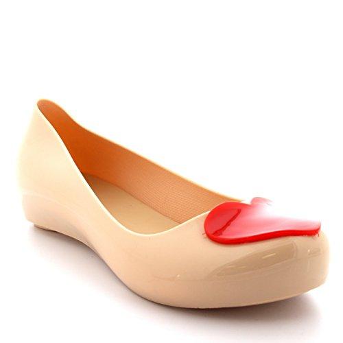 Donna Scivolare Gelatina Amore Cuore Ballerina Balletto Estate Scarpe - Nude/Rosso - UK5/EU38 - PN0041