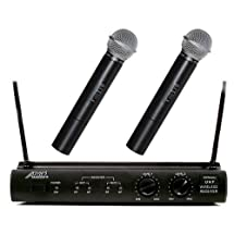 Audio2000s Awm6032u UHF Dual Channel Wireless Microphone System with Two Handheld Mic