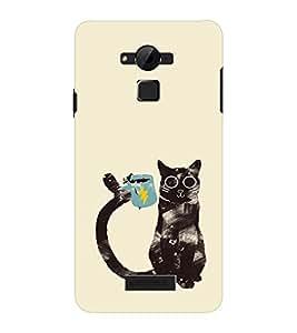 EPICCASE cat with cup Mobile Back Case Cover For CoolPad Dazen Note 3 Lite (Designer Case)
