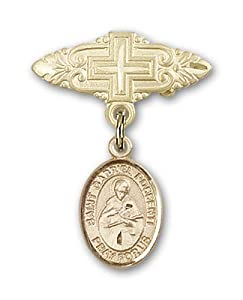 14K Gold Baby Badge with St. Gabriel Possenti Charm and Badge Pin with Cross