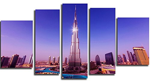 Glass Wall Art Acrylic Decor Set Burj Khalifa Dubai, 5 Stars Gift And A Contemporary Clock Startonight Set Of 5 Total 35.43 X 70.87 Inch front-63637