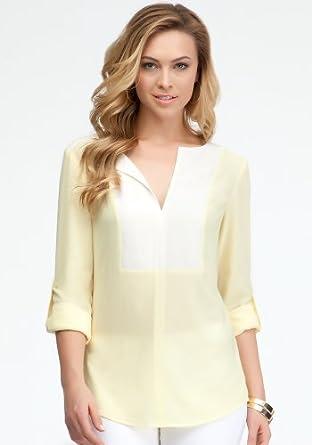 bebe Colorblock V-neck Tunic Woven Tops Lemonade-m