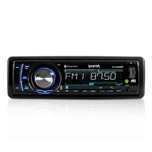 Vieta VC-HA4000BT Android Autoradio mit Bluetooth (MP3-CD, App-gesteuert, UKW-Radio, SD-USB-Slot, ID3-Tags, RDS, AUX, Abnehmbares Bedienteil) schwarz