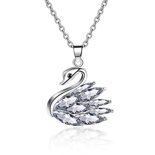 Elegant Platinum Plated Swan Pendant Necklace